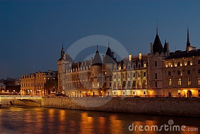 The Seine at Night, Paris, France