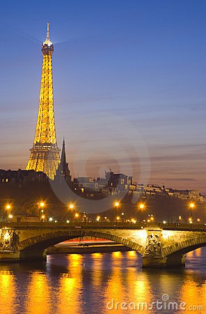 Seine river and Eiffel Tower Editorial Image