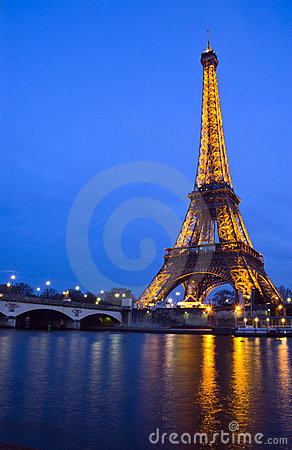 Seine river and Eiffel Tower Editorial Stock Image