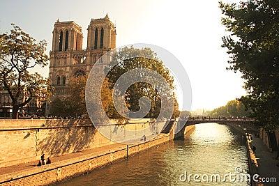Seine river and famous Notre Dame de Paris.