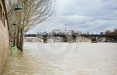 Seine river flood in Paris