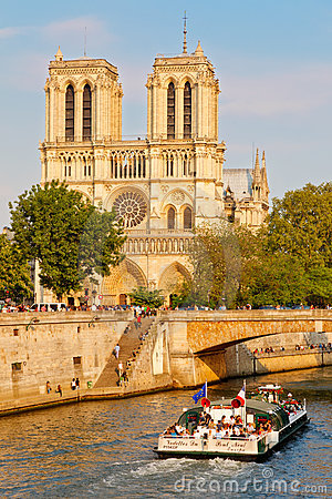 Seine river near Notre Dame Editorial Image