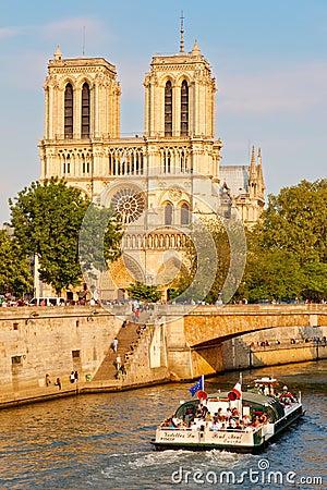 Seine river near Notre Dame Editorial Image
