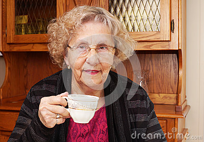 Seinor woman with cup of tea