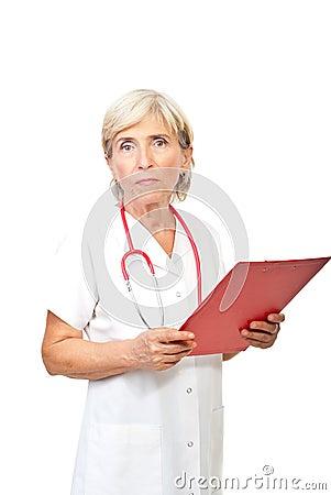 Seious senior doctor woman