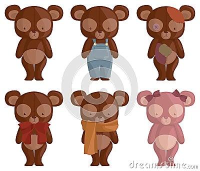 Seis osos del peluche