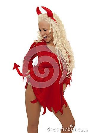 Seksowny blond diabeł