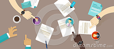 Select cv resume on the desk employee recruitment process Vector Illustration