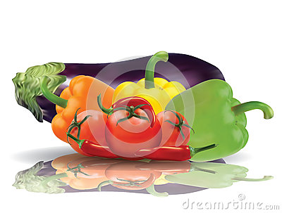 Selected vegetables with reflection