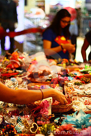Selecting Accessories at an Indian Fancy Store