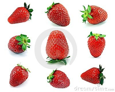 A selection of 9 single fresh strawberries