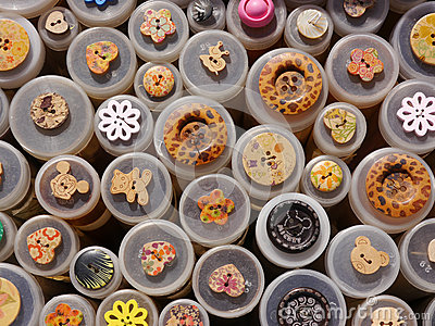 Selection of Buttons: Brown-Red-Yellow-White