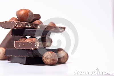 Selection of chocolate squares and nuts