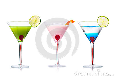 Selection of Martini cocktails