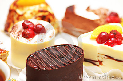 Selection of sweet cakes