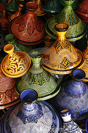 Selection of very colorful Moroccan tajines