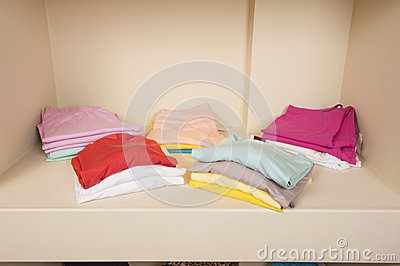 Selection of women clothes on shelf