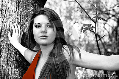 Selective color woman in red dress