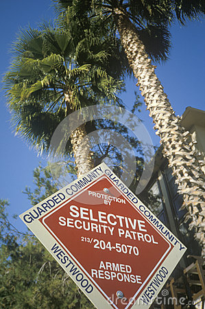Selective security patrol  sign Editorial Image