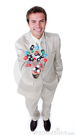 Self-assured businessman holding a molecule