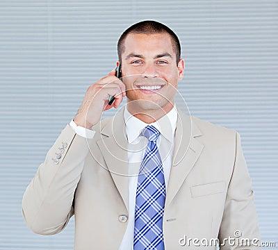 Self-assured businessman talking on phone