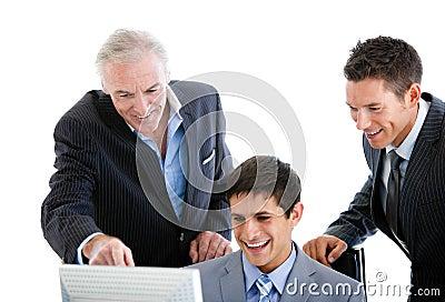 Self-assured businessmen working together