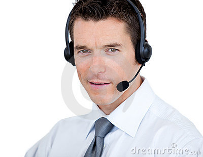 Self-assured man with headset on