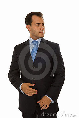 Self-assured young businessman looking to the left