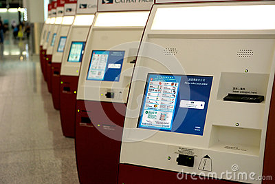 Self Check-in machines at Hong Kong airport Editorial Photo