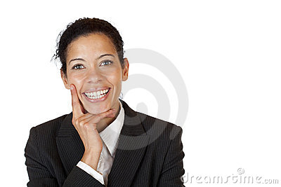 Self confident business woman smiles happy