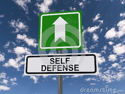Self defense roadsign Stock Photo