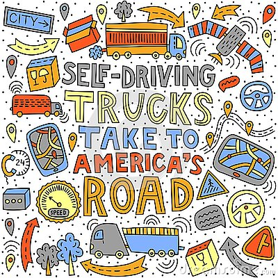 Self-driving trucks take to America`s road Vector Illustration