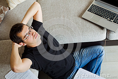 Self-employed man working at home