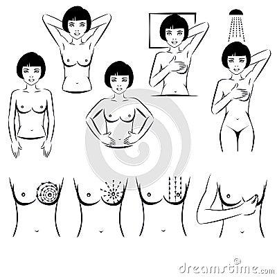 Free Self Exam, Breast Cancer Examination Stock Photo - 36186370
