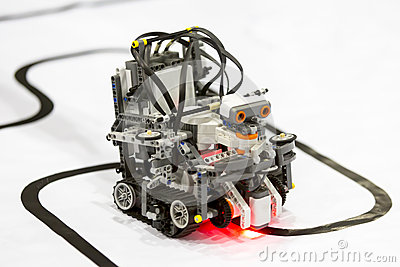 Self-made robot from Lego blocks Stock Photo