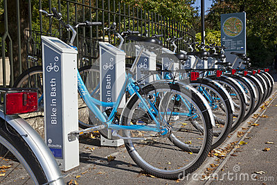 Self Service Bike Rentals in Bath Editorial Stock Photo