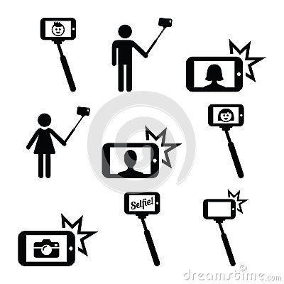 selfie stick with mobile or cell phone icons set stock illustration image. Black Bedroom Furniture Sets. Home Design Ideas