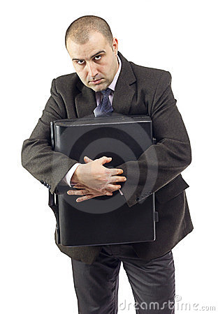 Selfish business man holding suitcase