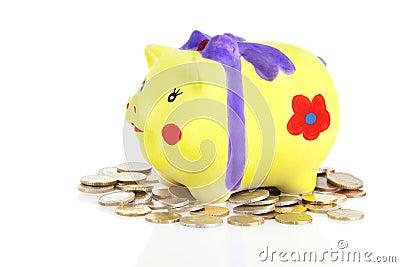 Selfmade piggybank with coins