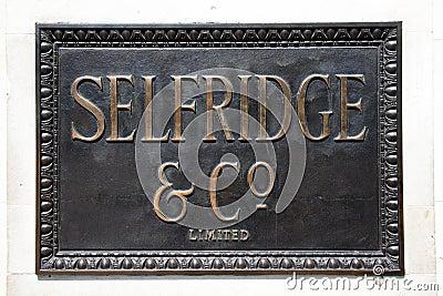 Selfridges Bronze sign Editorial Photography
