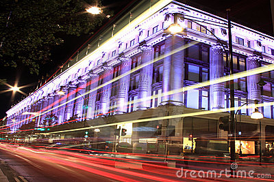 Selfridges na noite Foto de Stock Editorial