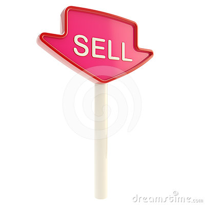 Sell banner plate on a stick isolated