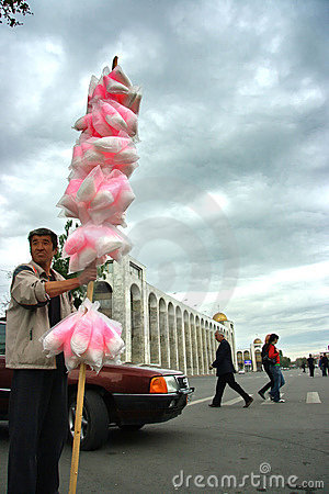 The seller of sweets in Kyrgyzstan Editorial Image