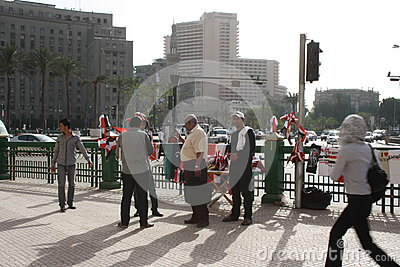 Sellers at tahrir square in Cairo, Egypt Editorial Stock Image