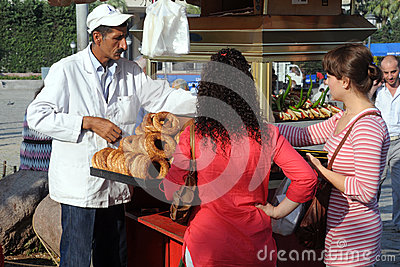 Selling Bagels in Izmir Editorial Stock Photo