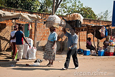 Selling bread in the African market Editorial Photography