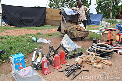 Selling car accessories on African street Editorial Stock Photo