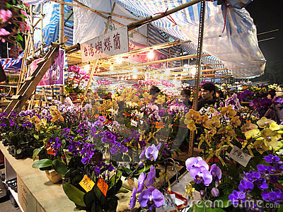 Selling flowers during Chinese Lunar New Year Editorial Image