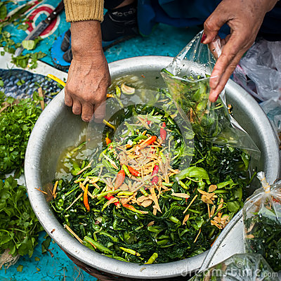 Free Selling Food At Traditional Asian Marketplace. Laos Royalty Free Stock Image - 44811976