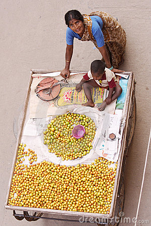 Selling fruits-Indian woman Editorial Stock Photo